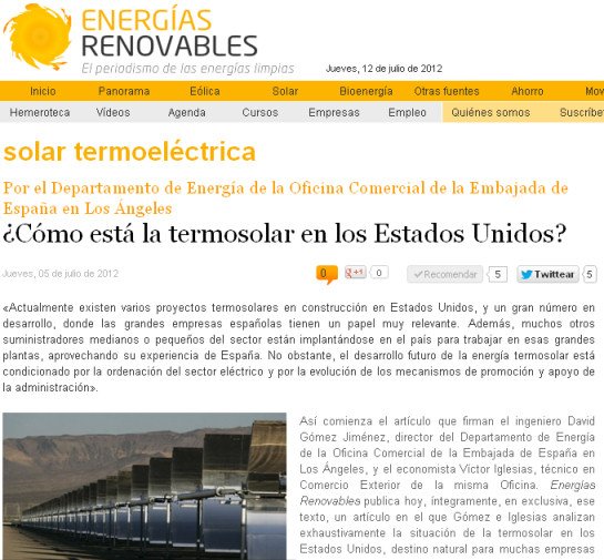 Termosolar en estados unidos